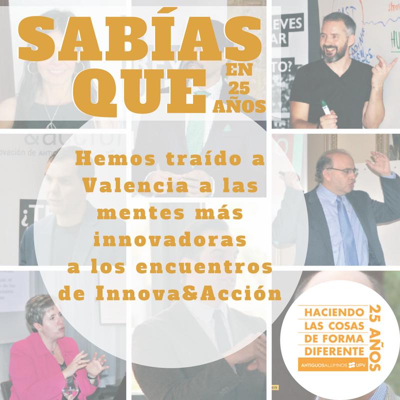 ¿Sabías que en los últimos 25 años hemos traído a Valencia a las mentes más innovadoras a los encuentros de Innova&Acción?